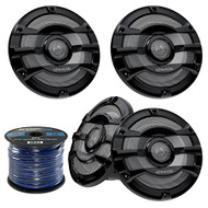 "4x Kenwood KFC-2053MRB 8"" Inch 2-Way 300-Watt Car Marine Boat Yacht Outdoor Black Speaker System Bundle With Enrock 50 Feet 16-Gauge Blue Speaker Wire"