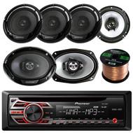 "Pioneer DEH150MP CD MP3 Stereo Receiver, Kenwood KFC6966S 6 x 9 Inches 3-Way 400-Watt Car Coaxial Speakers, Enrock Audio 16-Gauge 50 Foot Speaker Wire, 2 X KFC1665S X Kenwood KFC-1665S 6 1/2"" Sport Series 2-Way Flush Mount Coaxial Car Speakers"
