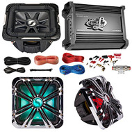 "Car Subwoofer And Amp Combo: Kicker 11S10L74 10"" Audio Subwoofer Speaker + 10"" Chrome Grill With LED Lighting + Lanzar 2000W Mono Block Stereo Amplifier + 8 Gauge Marine Amplifier Installation Kit"
