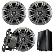 "Marine Speaker With Amp Combo Of 4x Kicker 41KM652C 6.5"" 2-way 195 Watt, 2 Ohm Marine Speakers + Enrock EKMB500ABT 400W 4-Chan Bluetooth Car/Marine Amplifier"