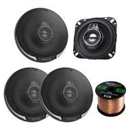 "2 Pairs Car Speaker Package Of 4x Kenwood KFC-1095PS 4"" 3-Way Black Performance Series Flush Mount Car Coaxial Speakers - Bundle Combo With Enrock 16g 50 Feet Speaker Wire"