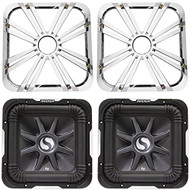 """Package: (2) Kicker 11S12L7-2 12"""" Dual 2 Ohm Solo Baric L7 Subwoofers Totaling 3000 Watt + (2) Kicker 11L712GLC 12"""" Charcoal Grilles With LED Lighting For SoloBaric 11S12L7 Subwoofer"""