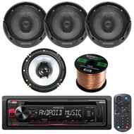 "Kenwood KDC115U AM/FM AUX/USB CD/MP3 Player Receiver Bundle Combo With 2x KFC1665S 6.5"" 2-Way Coaxial Speakers + Enrock 16g 50ft Speaker Wire"