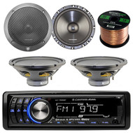 """Lightning Audio by Rockford Fosgate LA1500BT MP3 Bluetooth Stereo Receiver Bundle Combo With 2x 6.5"""" Inch Full Range Black Car Coaxial Speakers + 2x 12"""" Single Voice Coil Subwoofer + Enrock 50Ft Wire"""