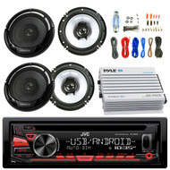 "JVC KDR480 Car Radio USB AUX CD Player Receiver - Bundle Combo With 2x Kenwood KFC1665S 6.5"" Inch 300-Watt 2-Way Black Car Coaxial Speakers + 4-Channel Bluetooth Amplifier + Amp Install Kit"