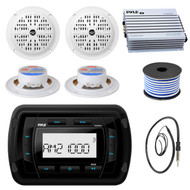Pyle PATVR10 MP3 Bluetooth Marine Boat Yacht Stereo Receiver Bundle Combo With 4x 4'' Inch Dual Cone Waterproof White Stereo Speaker + Enrock Radio Antenna + 400 Watt Amplifier +18G 50-FT Wire