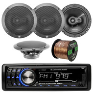 """Lightning Audio by Rockford Fosgate LA1500BT MP3 Bluetooth Stereo Receiver Player Bundle Combo With 4x L675-S 6-3/4"""" Inch Full Range Black Car Coaxial Speakers + Enrock 50 Foot 16 Guage Speaker Wire"""