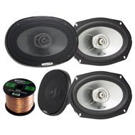 Car Speaker Package: 4 x Alpine SXE-6925S 6x9 Inch 280 Watts 2-Way Coaxial Car Speaker 2 Set Bundle With Enrock 50 Feet 16 Gauge Speaker Wire