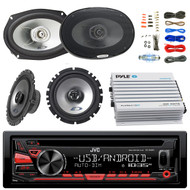 "JVC KDR480 Car Radio USB AUX CD Player Receiver - Bundle Combo With 2x Alpine 6.5"" 80W 2-Way Coaxial Car Speakers + 2x 6x9 Inch 280W Black Speaker + 4-Channel Bluetooth Amplifier + Amp Kit"