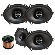 "2 Pairs Of Alpine SPS-517 5X7"" 2-Way Car Coaxial Audio Speakers Bundle With Enrock 50 Feet Speaker Wire"
