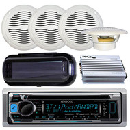 """Kenwood KMR-D368BT In-Dash Marine Audio Bluetooth Receiver Bundle Combo With 2 Pairs Of Magnadyne AquaVibe WR65W 6.5"""" Marine Outdoor Waterproof Speaker + 4 Channel 400w Amplifier + Receiver Cover"""