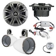 """Marine Speaker Package 2x Kicker 41KM652C 6.5"""" 2-way Marine Boat Audio Speakers Bundle Combo With Kicker KMTESW 6""""-6.5"""" Wakeboard Tower Enclosures + 600 Watt Waterproof Stereo Amplifier"""