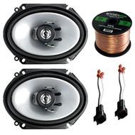 "Car Speaker Combo Of 2x Kenwood KFC-C6865S 6x8"" 250 Watt 2-Way Stereo Coaxial Speaker Bundle With 2x Metra 72-5600 Speaker Connector for Ford, Lincoln, Mazda, Mercury, + Enrock 50ft 16g Speaker Wire"