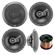 "Car Speaker Package Of 2 Pairs of Lightning Audio by Rockford Fosgate L675-S 6-3/4"" Inch 3-Way 80-Watt Black Full Range 4 OHM Car Coaxial Speakers Bundle Combo With Enrock 50 Foot 16-G Speaker Wire"