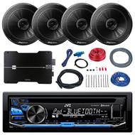 JVC KD-RD87BT Marine CD MP3 iPod Bluetooth Stereo Receiver Bundle Combo With 4x Pioneer TSG1645R 6.5-Inch 2-Way 250W Coaxial Speakers + Dual 800-Watt 4 Channel Amplifier With Installation Kit