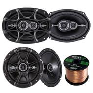 """Kicker 41DSC693 D-Series 6x9"""" inch Coaxial 3-Way Speaker with 1/2"""" Tweeter, Kicker 41DSC654 6-1/2"""" 6.5"""" D-Series 240W Peak/60W RMS 2-Way Car Speakers, Enrock Audio 16-Gauge 50 Foot Speaker Wire"""