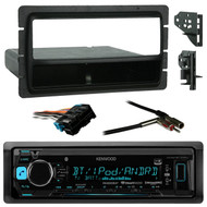 Kenwood KMMBT322U Car Audio Bluetooth Stereo Digital Receiver AUX USB SiriusXM, Metra 99-3301 Black Installation Multi-Kit, Metra 70-1858 Radio Wiring Harness For 1988-2005 GM Car Vehicles, Metra 40-GM10 Antenna Adapter For Most GM Car Vehicles
