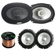 Alpine Type-E SXE1750S Car Audio 6.5-Inch Component 2-Way Speaker Set Of 2 Bundle + Alpine SXE-6925S 6x9 Inch 280 Watts 2-Way Coaxial Car Speaker Set Of Two - 1 Enrock 50 Feet 16 Gauge Speaker Wire