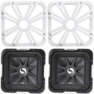 """Package: (2) Kicker 11S12L7-4 12"""" Solo Baric L7 Subwoofers Totaling 3000 Watt + (2) Kicker 11L712GLW 12"""" White Grilles With LED Lighting For SoloBaric 11S12L7 Subwoofer"""
