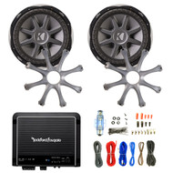 """2 Kicker 10CVX104 10"""" Subwoofers, 2 10"""" Kicker GR100 Speaker Grilles, Rockford Fosgate R500X1D 500W Monoblock Amplifier, Enrock Audio 18 AWG Gauge 50 Feet Speaker Wire Cable"""