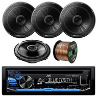 JVC KD-RD87BT Car CD MP3 iPod Bluetooth Stereo Receiver Bundle Combo With 4x Pioneer TSG1645R 6.5-Inch 2-Way 250W Coaxial Speakers + Enrock 50 Foot 16 Guage Speaker Wire