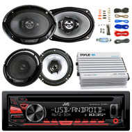 "JVC KDR480 Car Radio USB AUX CD Player Receiver - Bundle Combo With 2x Kenwood 6.5"" 2-Way Black Car Coaxial Speakers + 2x 6x9"" Inch 3-Way Speaker + 4-Channel Bluetooth Amplifier + Amp Kit"
