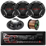 """Pioneer DEH150MP CD MP3 Stereo Receiver, Enrock Audio 16-Gauge 50 Foot Speaker Wire, 2 X CSDR620 X JVC CS-DR620 300-Watt Peak (50W RMS) 6.5"""" Inch 2-Way Factory Upgrade Coaxial Speakers - Pair"""