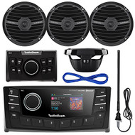"""Rockford Fosgate PMX-5 Punch Marine Oversized 2.7"""" DIN AM/FM Bluetooth Stereo Receiver Bundle Combo With PMX-0R Wired Remote Control + 4x RM0652B 6.5"""" Inch Black Audio Speakers + Enrock Radio Antenna + 50Ft Wire"""