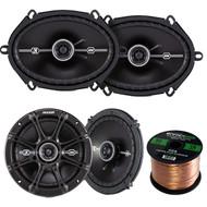 "Kicker 41DSC654 6-1/2"" 6.5"" D-Series 240W Peak/60W RMS 2-Way Car Speakers, Kicker 41DSC684 D-Series 6x8"" 400 Watt 2-Way 4-Ohm Car Audio Coaxial Speakers, Enrock Audio 16-Gauge 50 Foot Speaker Wire"