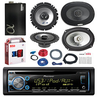 "PIONEER DEH-X3700UI CD/MP3/AUX Car Stereo Receiver Player Bundle - 2 Alpine 6x9"" Car 2-way Speaker - 2 Alpine 6.5"" Car 2-Way Coaxial Speaker + Alphasonic 1600w Amplifier + Boss KIT2 Amp Install Kit"