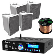 "Amp And Speaker Combo Packge: Pyle PDA5BU Bluetooth Radio USB AUX Amplifier Stereo Receiver Bundle With 2x Kicker KB6000B 6.5"" Full Range Bookshelf Waterproof Speaker + Enrock 50ft 16g Speaker Wire"