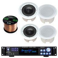 """Pyle Pro PDPC82 8"""" inch 2-Way Round Enclosed In-Ceiling Speaker, Pyle Pro P1001AT 1000W Hybrid Pre-Amplifier with AM/FM Tuner, Enrock Audio 16-Gauge 50 Foot Speaker Wire"""