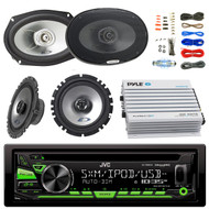 "JVC KDR680S Car Radio USB AUX CD Player Receiver - Bundle Combo With 2x Alpine 6.5"" 80W 2-Way Coaxial Car Speakers + 2x 6x9 Inch 280W Black Speaker + 4-Channel Bluetooth Amplifier + Amp Kit"