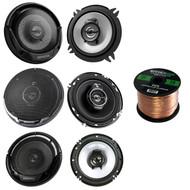 """3 Pairs Car Speaker Package Of 2x Kenwood KFC-1365S 5-1/4"""" 250-Watt Coaxial Speakers + 2x KFC-1665S 6 1/2"""" 2-Way Black Car Speakers + 2x KFC-1695PS 6.5"""" 3-Way Speaker + Enrock 18g 50 Ft Speaker Wire"""