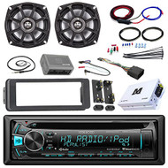 "98-13 Harley Motorcycles Audio Package, Kenwood KDCMP262U Marine Stereo Receiver W/ Dash Trim Kit, 2x Kicker 5.25"" Coaxial Speakers, 200 Watt Amplifier W/ Amp Kit, Handle Bar Conroller, Enrock Antenna"