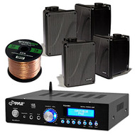 "Amp And Speaker Combo Packge: Pyle PDA5BU Bluetooth Radio USB AUX Amplifier Stereo Receiver Bundle With 4x Kicker KB6000B 6.5"" Full Range Bookshelf Waterproof Speaker + 2x Enrock 50ft 16g Speaker Wire"