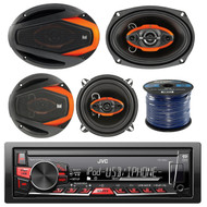 "JVC KD-X220 Single Din MP3/WMA/AM/FM Digital Media Marine Boat Yacht Stereo Receiver Bundle Combo With 2x Dual-Electronics 6.5"" / 2x 6x9"" Inch 4-Way Coaxial Speakers + Enrock 50Ft 16g Speaker Wire"