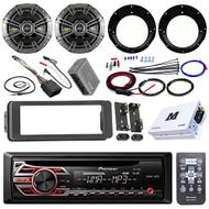 "Pioneer DEH150MP Stereo Receiver Bundle + 2 Kicker 6.5"" Speaker + Motorcycle Speaker Adapters + Class D Amplifier W/ Amp Kit + Dash Trim Kit + Handle Bar Conroller for 98-13 Harley's + Enrock Antenna"