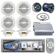 "Dual Electronic AM615BT Marine Bluetooth CD Stereo Receiver Bundle Combo W/ Waterproof Wired Remote Control + 6x Magnadyne 6.5"" Speaker + 400 Watt Amplifier + Enrock Radio Antenna + 50-ft Speaker Wire"