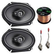 """Car Speaker Combo Of 2x Kenwood KFC-C6895PS 720-Watt 6x8"""" Inch 3-Way Coaxial Speakers Bundle With 2x Metra 72-5512 Speaker Harness for Select 1989-Up Ford Vehicles + Enrock 50ft 16g Speaker Wire"""
