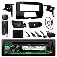 "Audio Bundle For 2014 and Up Harley - JVC KDR97MBS CD MP3 AUX Marine Bluetooth Receiver Combo W/ Install Dash Kit and Handle Bar Control for Motorcycles, SiriusXM Tuner, Enrock 22"" AM/FM Antenna"