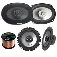 """2x Alpine SXE-1725S 6.5"""" 80 Watt 2-Way Coaxial Car Audio Speakers Bundle Combo With 2x SXE-6925S 6x9 Inch 280 Watts 2-Way Vehicle Speaker - 1 Enrock 50 Feet 16 Gauge Speaker Wire - 4 Speakers"""