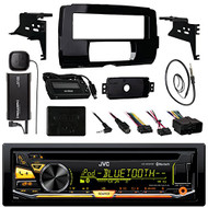 "Audio Bundle For 2014 and Up Harley - JVC KD-RD97BT CD MP3 Marine Bluetooth Receiver Combo With Install Dash Kit, Handle Bar Controller for Motorcycle, SiriusXM Satellite Kit, Enrock 22"" AM/FM Antenna"