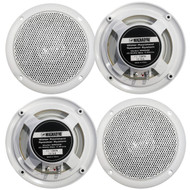 """2 Pairs Of Magnadyne WR50W 5"""" Inch Slim Profile Waterproof Marine, Boat, Hot Tub, Outdoor Speaker with Integrated Plastic Grill - White"""