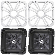 """Package: (2) Kicker 11S10L74 10"""" 4 Ohm Solo Baric L7 Subwoofers Totaling 2400 Watt + (2) Kicker 11L710GLW 10"""" White Grilles With LED Lighting For SoloBaric 11S10L7 Subwoofer"""
