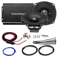 """Car / Marine Amp Combo: Rockford Fosgate R1-HD2-9813 Prime 140 Watt 2-Channel Marine Car Motorcycle Amplifier and 2x 5.25"""" Speaker Set Bundle With Scosche 10-AWG OFC Amp Installation Kit (2 Speakers)"""