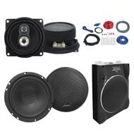 "Lanzar VCTBS10 800 Watts Max 10"" Super Slim Active Subwoofer, Lanzar Vx430 4"" 3-Way 150-Watt Black Car Audio Speakers, Lanzar VX6C VX 6.5-Inch Two-Way Custom Component Speaker System, Boss Complete 8 Gauge Amplifier Installation Kit"