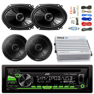 """JVC KDR680S Car Radio USB AUX CD Player Receiver - Bundle Combo With 2x 250W 6x8"""" inch 2-Way Coaxial Car Audio Speakers + 2x 6.5-Inch Speakers + 4-Channel Bluetooth Amplifier + Amp Kit"""