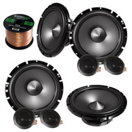 "2 Pairs Of Alpine SPS-610C 6.5"" 2-Way Car Component Audio Speakers Bundle With Enrock 50 Feet Speaker Wire"
