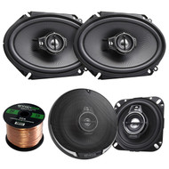 "2 Pair Car Speaker Package Of 2x Kenwood KFC-1095PS 4"" 3-Way Black Performance Series Black Flush Mount Car Coaxial Speakers + 2x KFC-C6895PS 720-Watt 6x8"" Inch Audio Speaker + Enrock 16g 50Ft Wire"